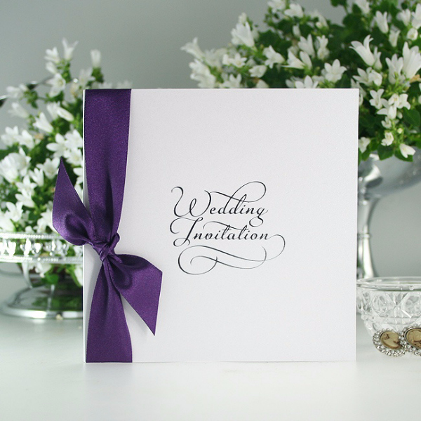 Classic Script White and Blackberry, wedding invitation, olivia samuel, personalised wedding invitation