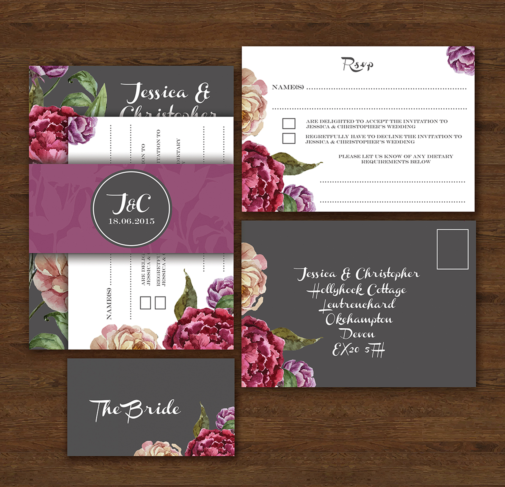 Colourful Personal Wedding Stationery from Knots Kisses UK