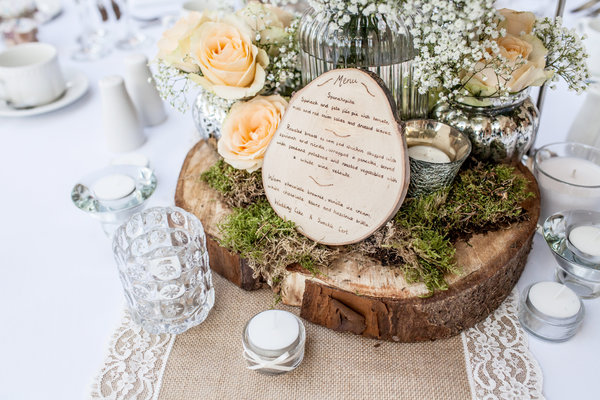 Gorgeous styling bespoke wedding accessories from wedding creations image credit charlotte hu photography wooden menu rustic styling wedding creations uk junglespirit Image collections
