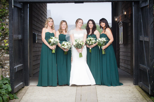 Upwaltham Barns Wedding | FitzGerald Photographic, winter wedding, bridesmaids in teal