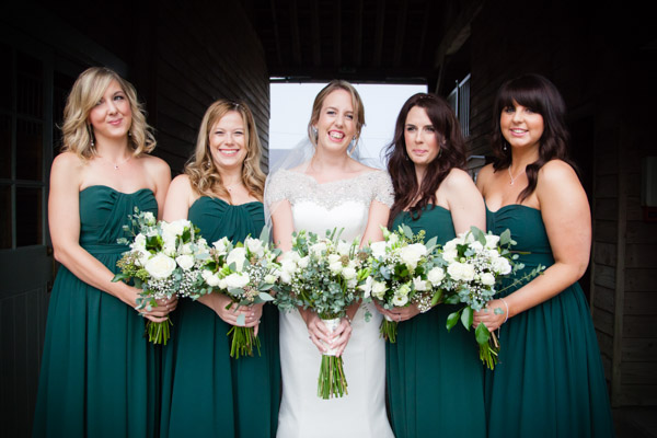 Upwaltham Barns Wedding | FitzGerald Photographic, bridesmaids in teal, winter wedding