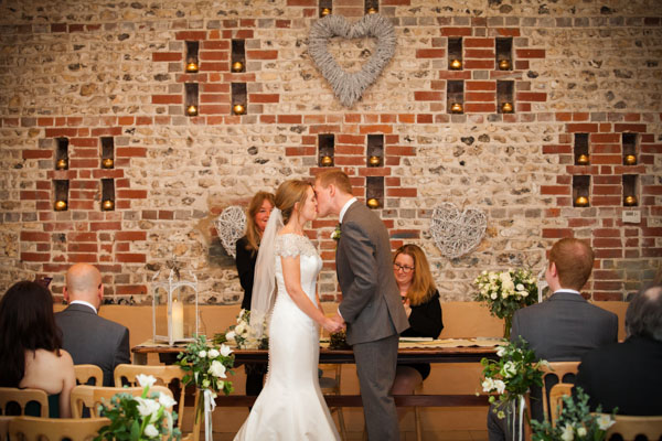 Upwaltham Barns Wedding | FitzGerald Photographic, winter wedding, first kiss