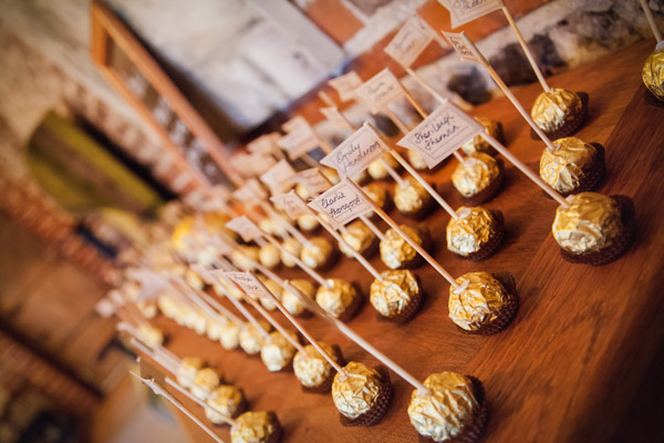 Upwaltham Barns Wedding | FitzGerald Photographic, ferrero rocher place names, ferrero rocher escort cards