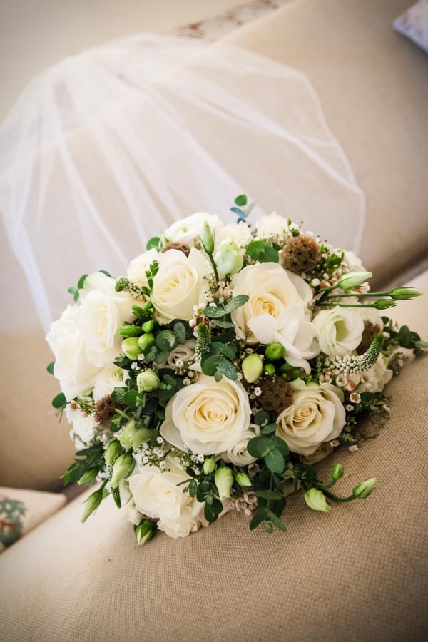 Upwaltham Barns Wedding | FitzGerald Photographic, winter wedding, cream floral bridal bouquet