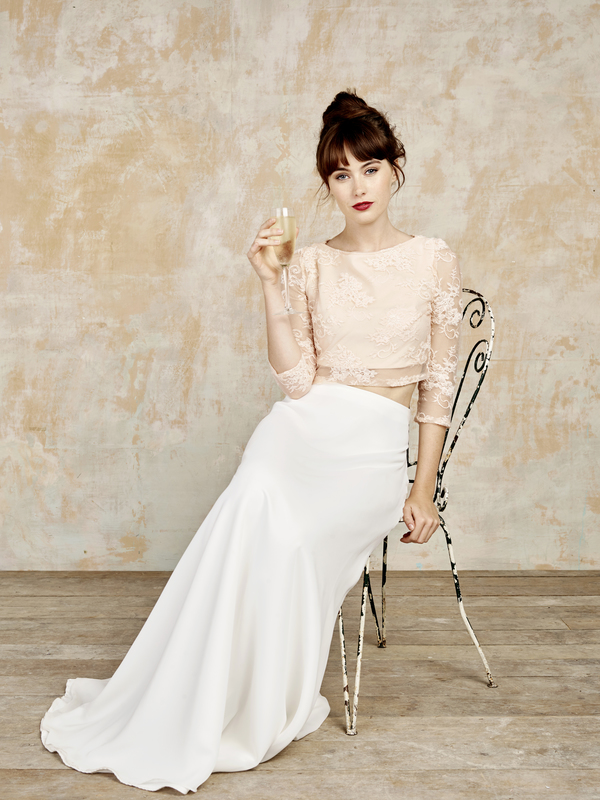 chiffon-maxi-skirt, blush-long-sleeve-top, bridal jumpsuits, bridal separates, luxury jumpsuits, luxury bridal jumpsuits