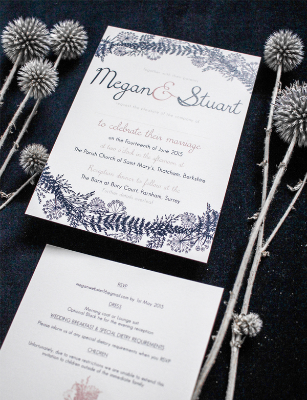 Beautiful Custom Wedding Stationery from Holly Rees London UK