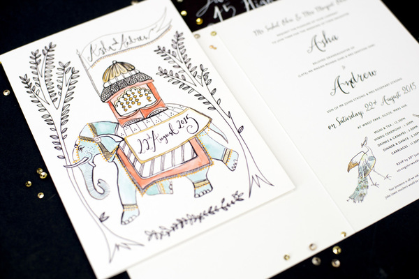 Hollyhock Lane Hand painted and Illustrated wedding invitations