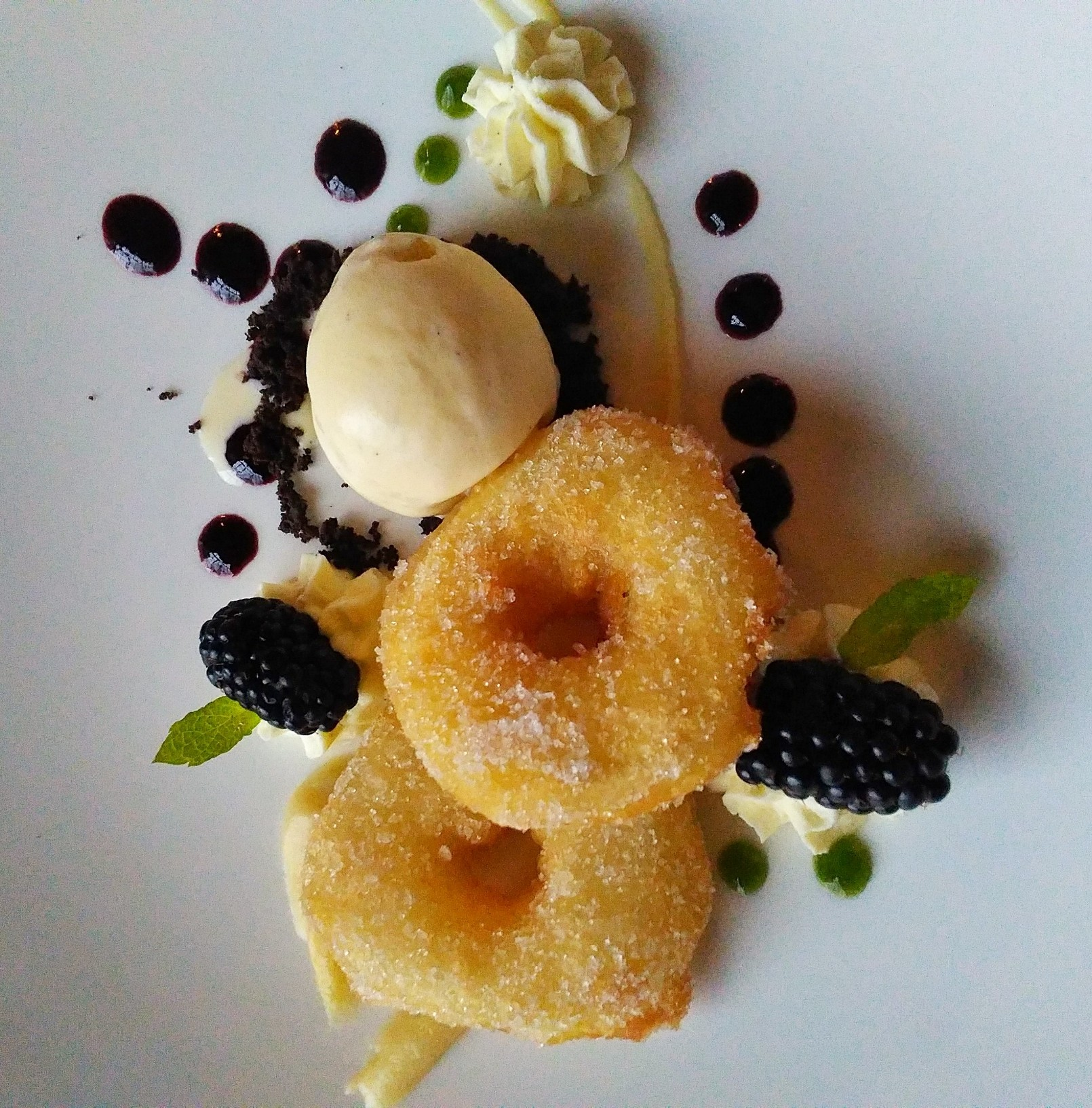 ardanaiseig hotel, ardanaiseig dining, apple fritter & vanilla ice cream with berries