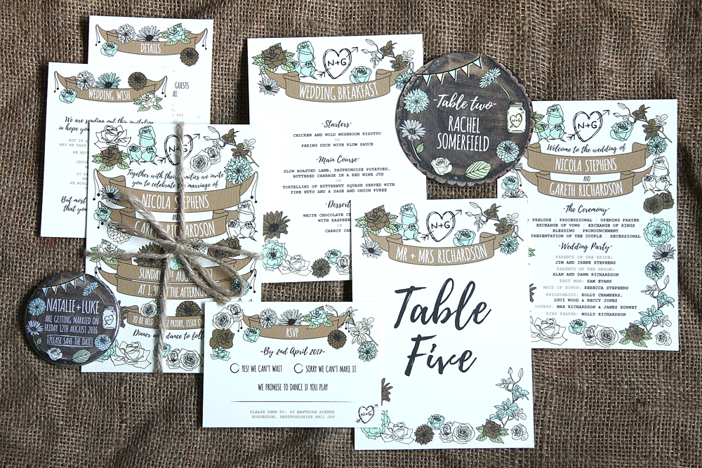 Whimsical Woodland Stationery Range, wedding save the date magnets, wedding save the date