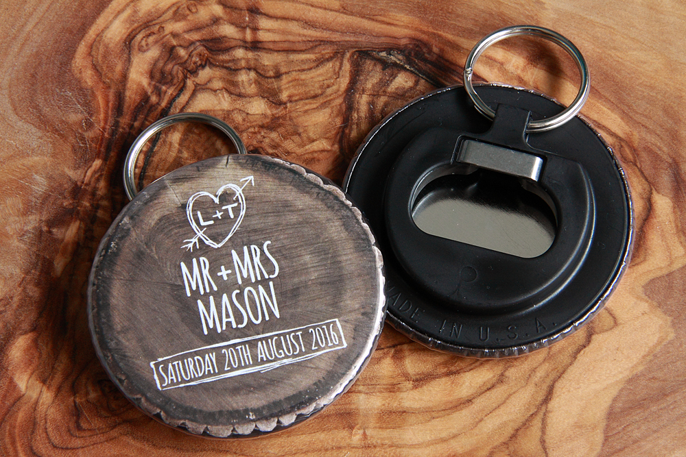Woodland Keyring bottle opener wedding favours, wedding save the date