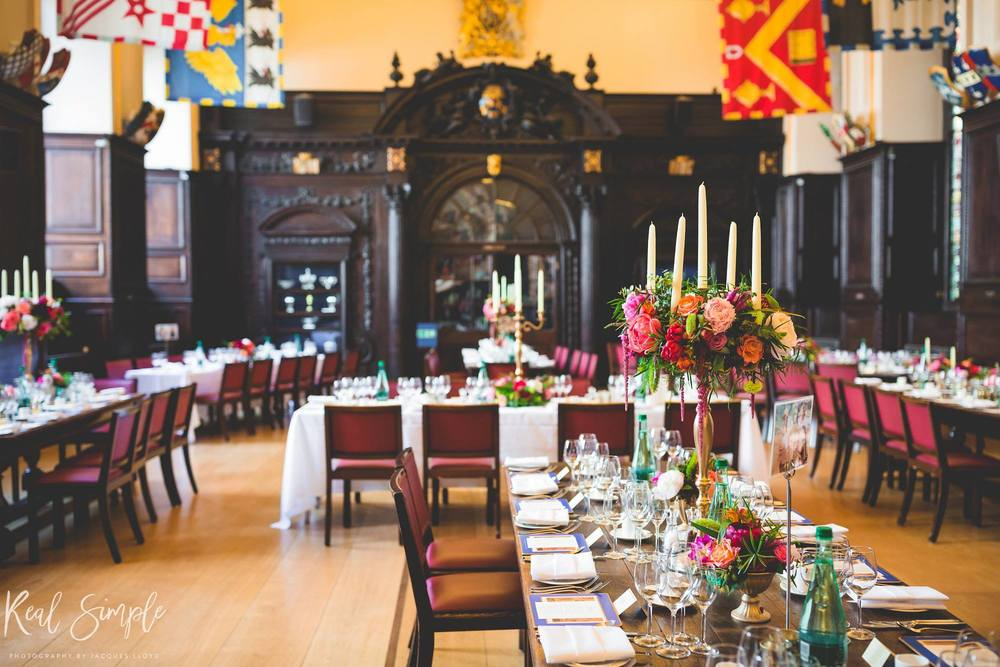 stationers hall, main hall, london wedding venue, real simple photography