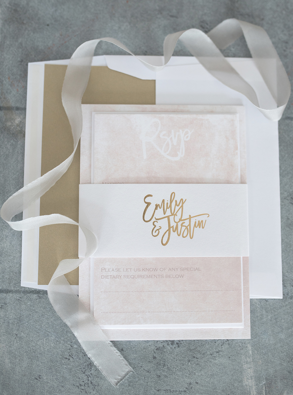 Knots And Kisses Blush Gold Marble Luxe Wedding Invitation