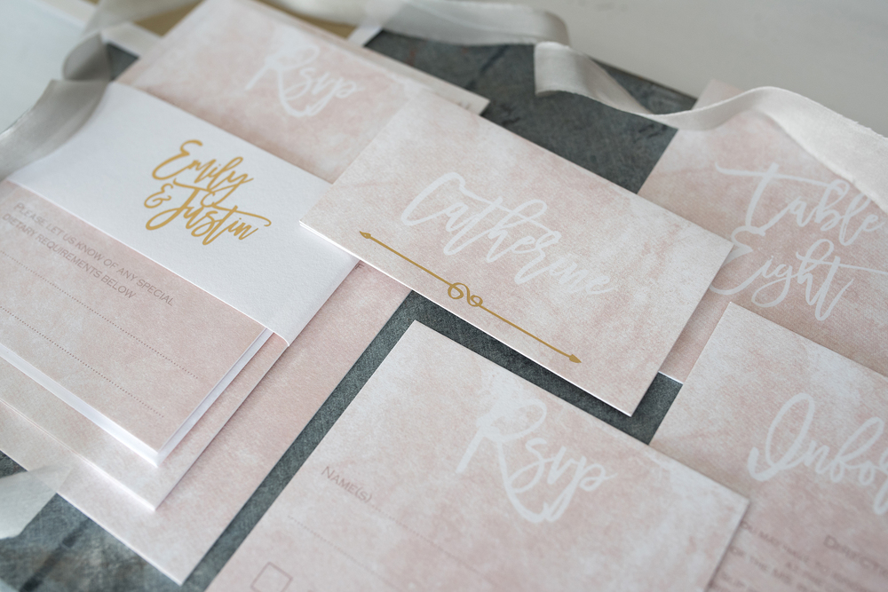 knots and kisses, blush-gold-marble-luxe-wedding-invitation-suite, image - Clare Kinchin Photography
