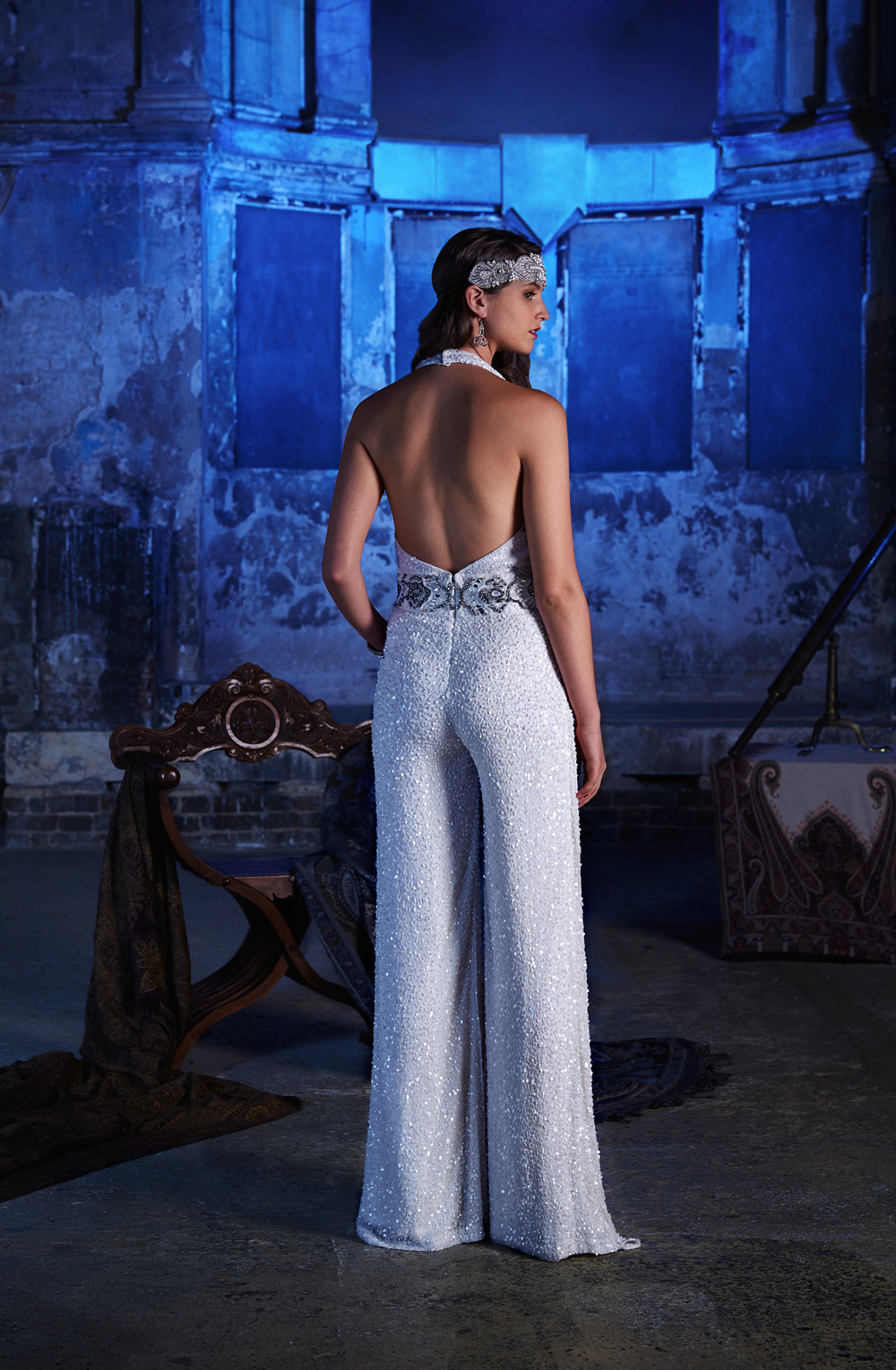 mizar-jumpsuit-back, Vintage inspired Wedding Dresses, 2017 Stardust Collection , Eliza Jane Howell , Images - Chris Dawes Photography
