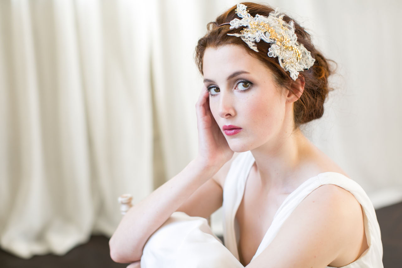 victoria-millesime, gold-orchid-lace-headpiece, Image by Anneli Marinovich