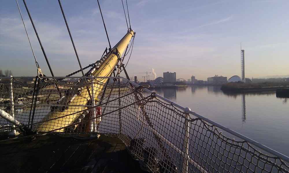 focsle-deck-view-to-city, tall-ship-at-riverside, unique-venue, glasgow wedding venue