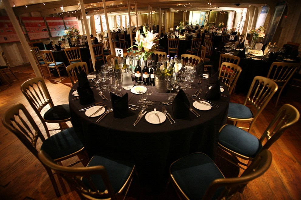 Tall Ship Dinner set-up, tall ship at riverside, unique venue, wedding venue Glasgow