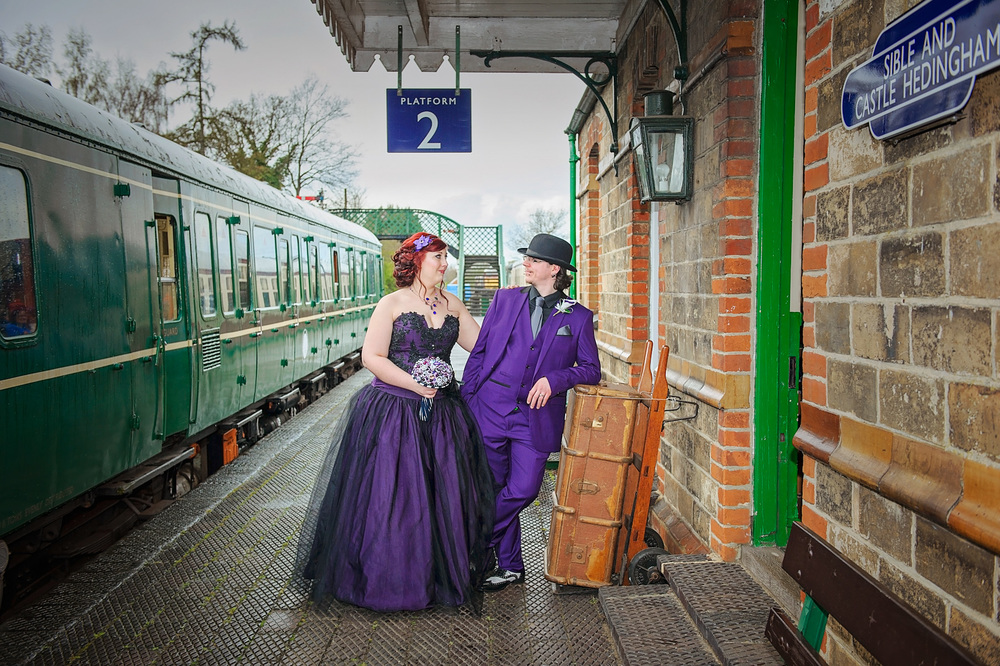 A Stunning Essex Wedding With A Tim Burton Film Theme A Purple