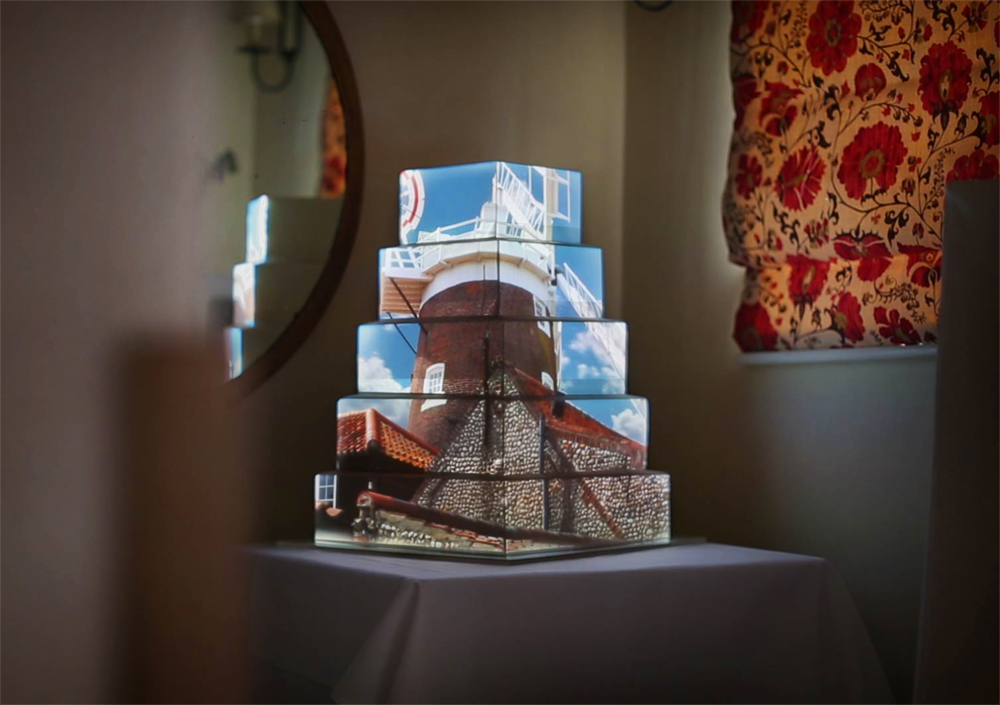 cley-windmill, luma-bakery, projection-mapped-cakes, wedding-cakes