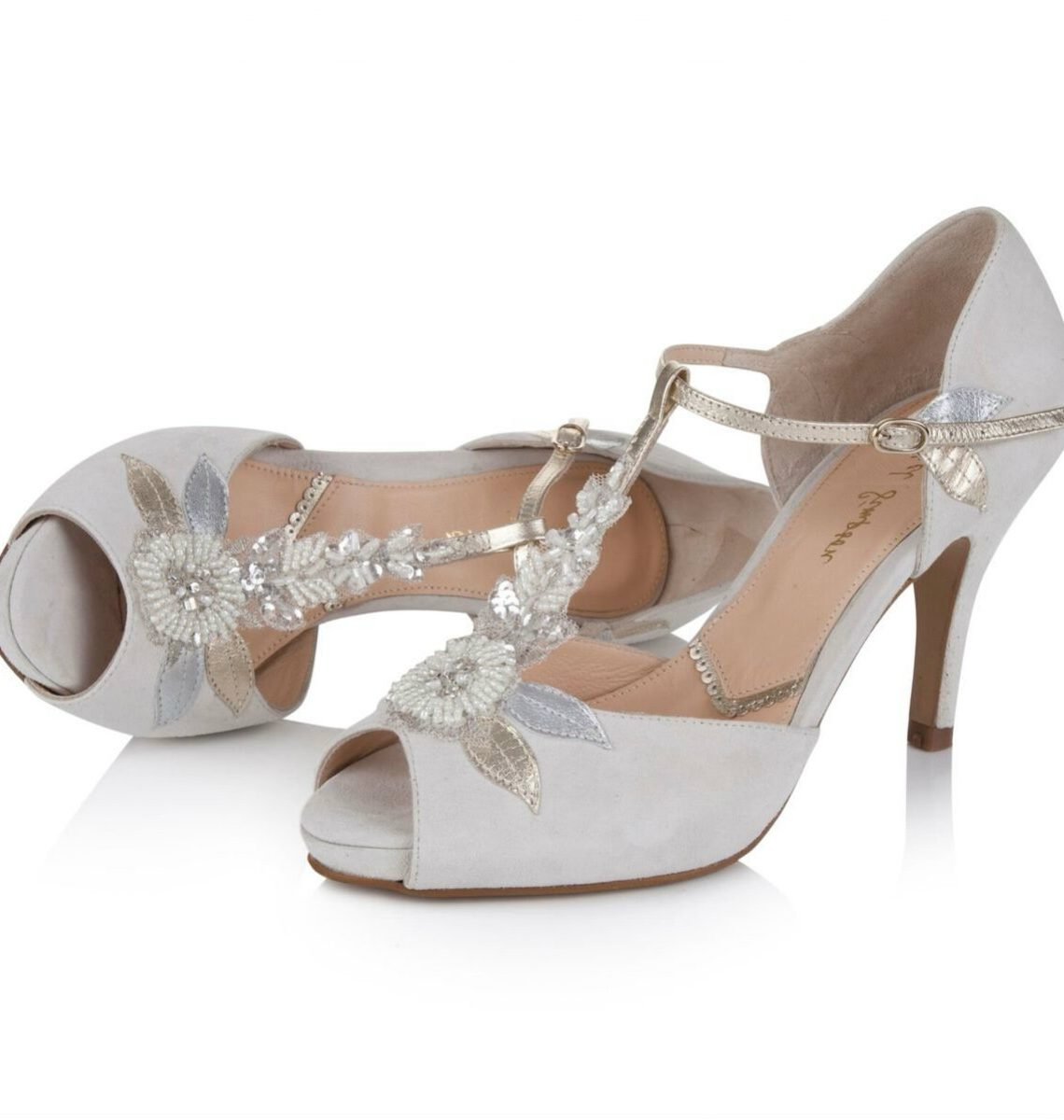 Hermione by Rachel Simpson Ivory Suede Embellished T-Bar Vintage Designer Wedding or Occasion Shoes