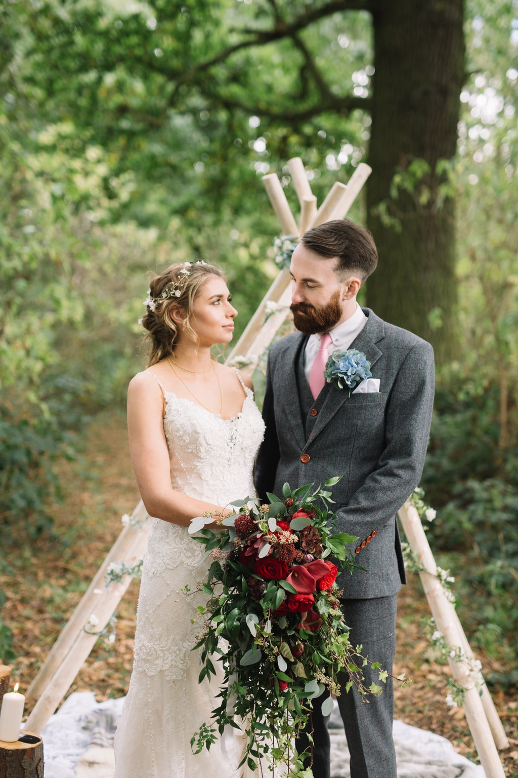 A Beautiful Whimsical Winter Wedding Shoot With Woodland Elements And Festive Colours