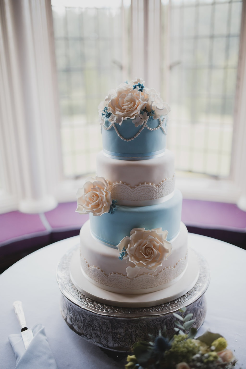 A Stunning Cheshire Wedding at Crewe Hall with a delicate ice blue ...