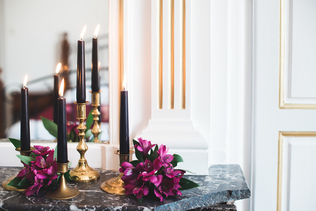 Dark Fairytale inspired Wedding - Wit Photography - black candles - gold candlesticks