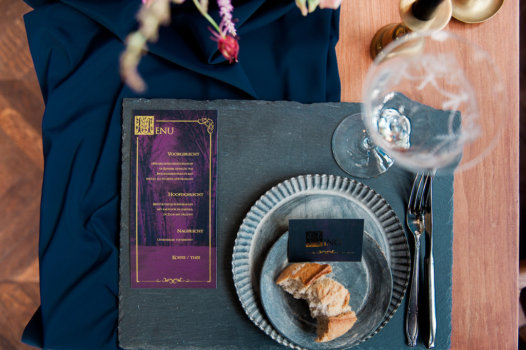 Dark Fairytale inspired Wedding - Wit Photography - wedding menu - Silver Lining
