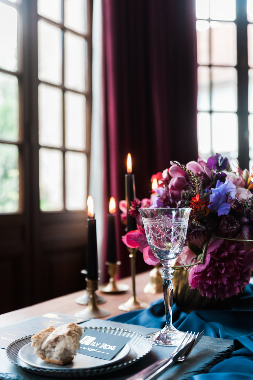 Dark Fairytale inspired Wedding - Wit Photography - table setting