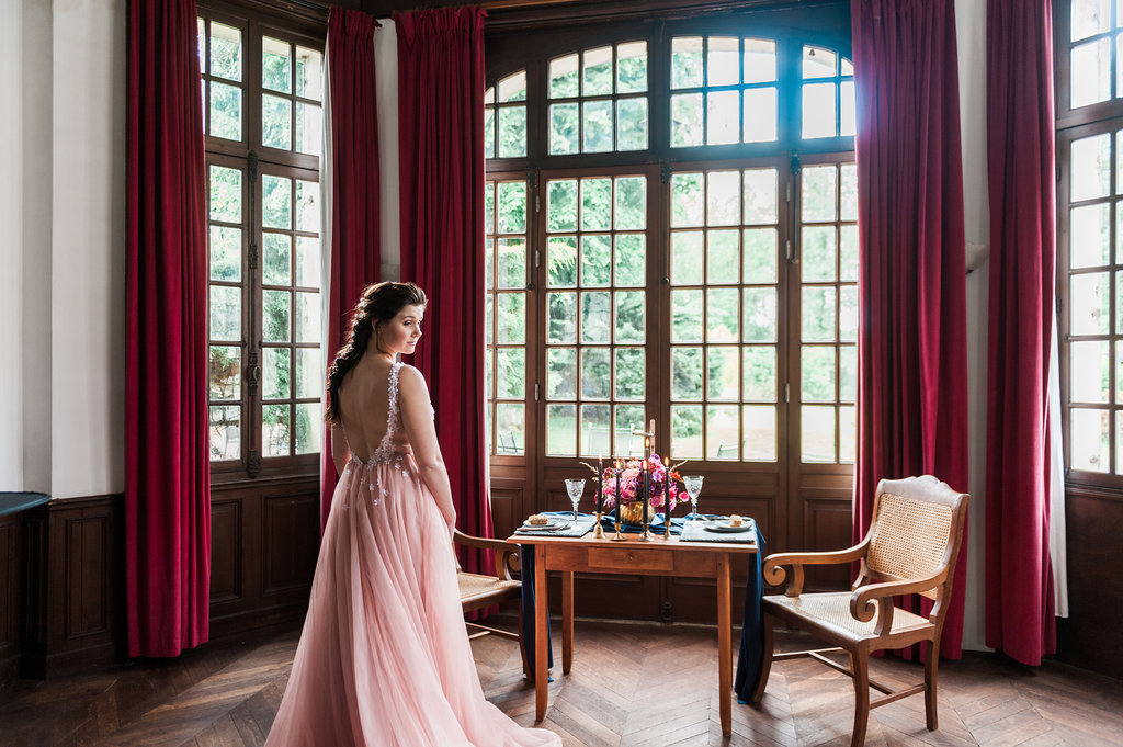 Dark Fairytale inspired Wedding - Wit Photography - pink wedding dress - Unielle Couture