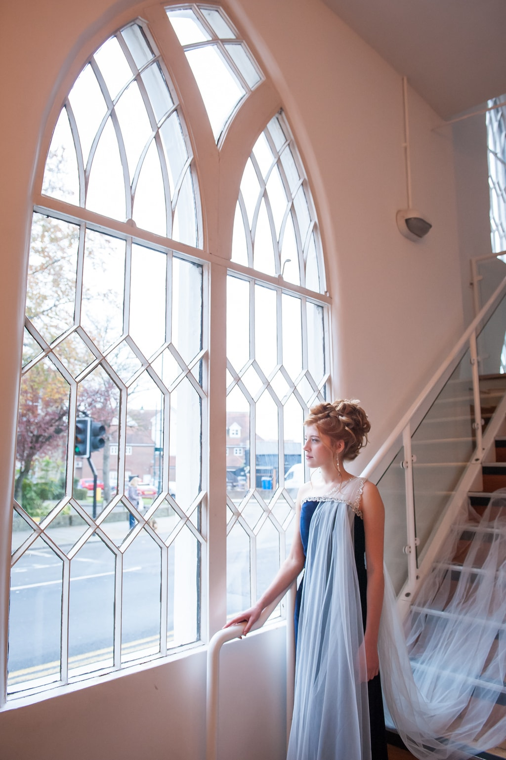 celestial inspired wedding, kat forsyth photography , bride by arched window