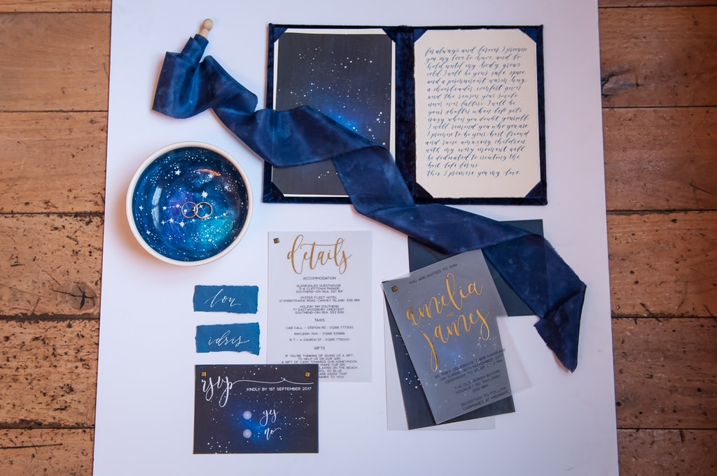 celestial inspired wedding, midnight blue wedding stationery , Beyond Vintage, Wedding Stationery , kat forsyth photography, styling Gwenda Jeffs,