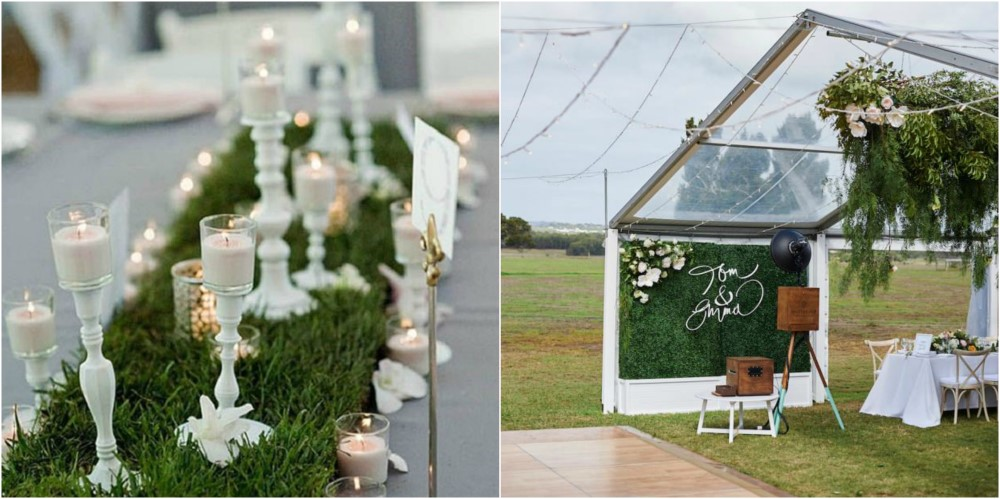 bohemian romance theme - bohemian wedding - boho wedding - artificial grass backdrop