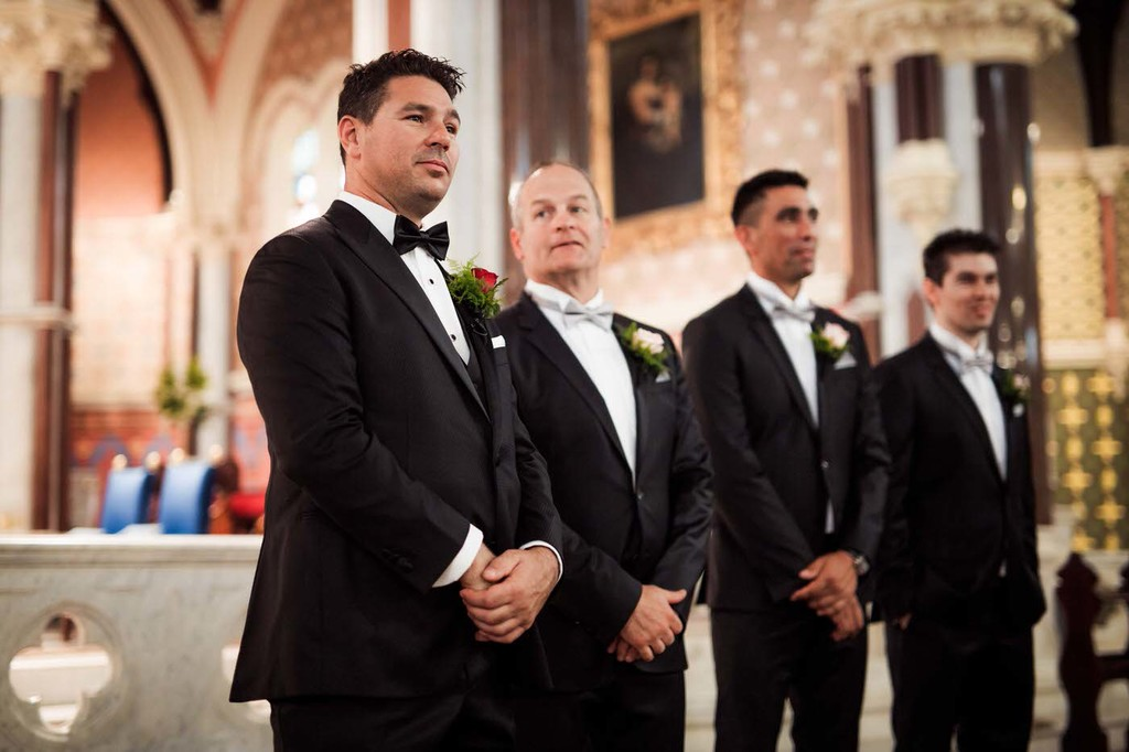 old hollywood inspired wedding - Clarte Photography - groom and groomsmen in church
