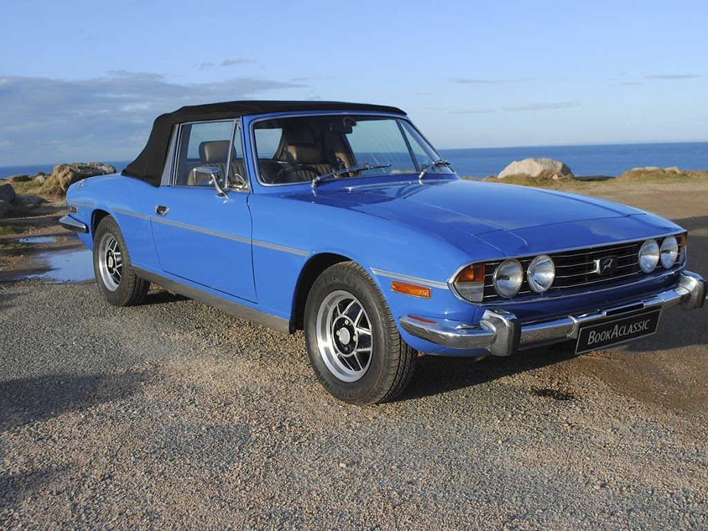Triumph Stag in blue - Book a Classic - wedding transport